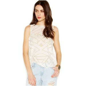 LUCKY BRAND Nigori Cream Geo Cut-Out Tank Top [B3]